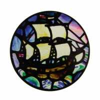 Coaster - sailing ship  (c) Stained Glass Museum